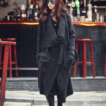 grey  cape Coat winter coat Autumn Woman Wool Long Knitted Coat Sweater my02 S,M,L