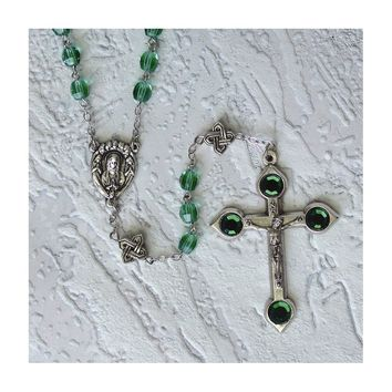 Green Crystal Celtic Rosary - Perfect Religious Gift