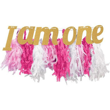 I Am One Pink & Gold Glitter High Chair Decoration - 87cm -Party banner- Gold and Pink glitter banner - One today banner