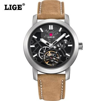Watches Men Luxury Brand LIGE Men's Fashion Casual Automatic Watch Man Dive 50M Military Leather Wrist watches relogio masculino