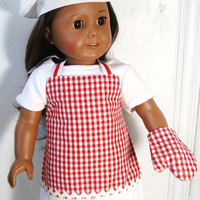 American Girl Apron, Chef's Set, Apron, Chef's Hat, Oven Mitt, Red and White Gingham fits 18 inch Dolls