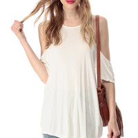 White Shoulder Cut Flowy Top