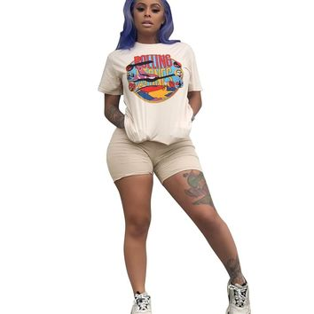 Two Piece Short Set Women Biker Shorts Sets Casual Cartoon 2pcs Tracksuit Summer Fashion Tops Short Pants Women Plus Size Outfit