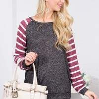 Charcoal Wine Striped Top