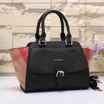 LMFON Burberry Women Shopping Leather Tote Handbag Shoulder Bag Black