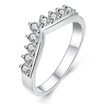 925 Sterling Silver CZ Crystal Woman Finger Rings For Wedding Engagement Charming Wreath Crown Jewelry