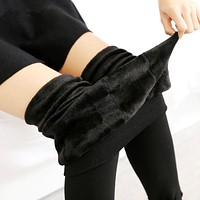 Women's Warm Leggings High Elastic Waist Winter Plus Velvet Thicken Warm legging