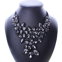 Vintage Crystal Flower Pendant Ribbon Chain Chunky Statement Jewelry Bib For Women Colorful Choker Necklace