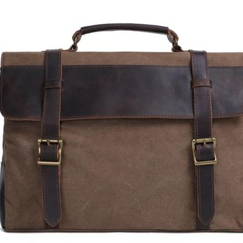 Handmade Waxed Canvas with Leather Briefcase Messenger Bag - Coffee