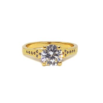 (MRIN-618-H6-1) 18kt Gold Overlay CZ Solitaire Ring.