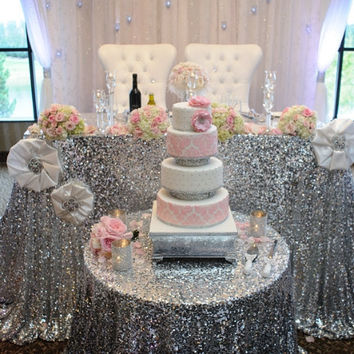 Silver Sequin Tablecloth