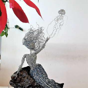Magic Wish Mermaid Fairy wire sculpture Gift for Her Girlfriend wife Fairytale OOAK steel Unique Art fun home decor statue fantasy deep sea
