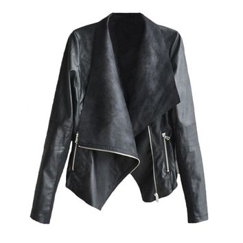 Chicloth Shiny Leather zipper pocket jacket