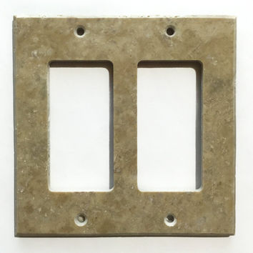 Light Walnut Travertine Double Rocker Switch Wall Plate / Switch Plate / Cover - Honed