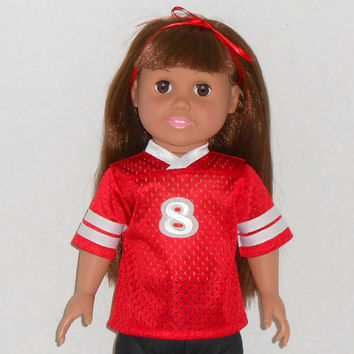 American Girl or Boy Doll Red and White Football Jersey  fits 18 inch dolls