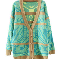 Green Geometric Pattern Cardigan Shirt