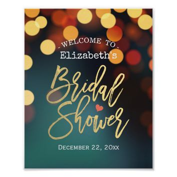 Chic Teal Gold Bokeh Lights Bridal Shower Welcome Poster