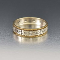 Exquisite Gold and Silver White Topaz Band Ring