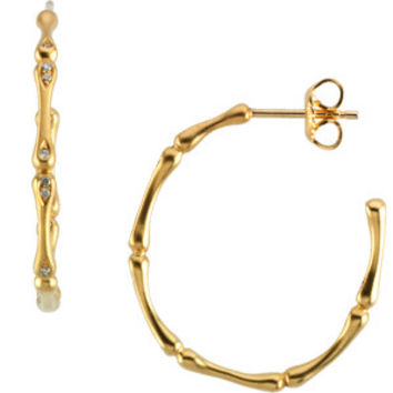 14k Yellow Gold Segmented Diamond Hoop Earrings