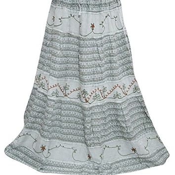 Womans Maxi Skirts Bohemian Medieval Gray Embroidered Vintage Skirt L