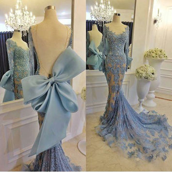 Gorgeous Mermaid Prom Dress 2017 Long Sleeve Light Blue Lace Backless Real Photo Boat Neckline Long Prom Dresses With Bow