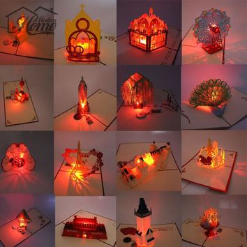 3D Laser Cut Pop Up Greeting Card LED Light Birthday Christmas Music Postcard With Envelope Handmade Gift Souvenir Paper Craft