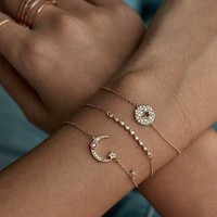 Moon Star Drop Bracelet