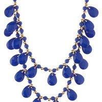 Cobalt Tiered Faceted Bead Necklace by Charlotte Russe