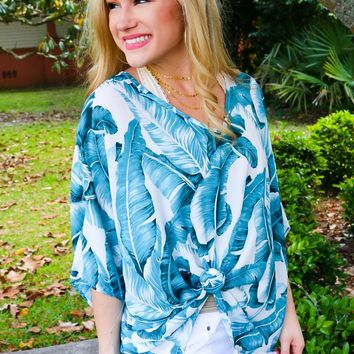 Summer Staple Top in Palm Leaf