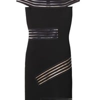 Bardot sheer stripe body-con dress