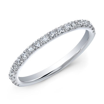 Women's 18k white gold thin shared prong diamond wedding band 0.30 ctw G-VS2