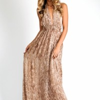 LoveShackFancy Love dress in tan water snake