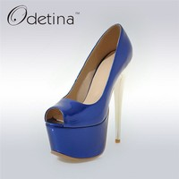 Odetina 2017 Fashion Women Super High Heels Platform Pumps Stilettos Peep Toe Extreme High Heels 16cm Party Shoes Big Size 31-48