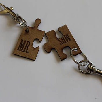 Personalized Keychain-Best Friend Puzzle Keychain-Girlfirends Matching Set-Girlfirends Matching Set-Choose Your Personalization-wood keychai