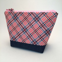 Large Essential Oil Bag (Red/Blue Plaid)