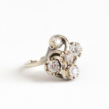 Vintage 14k White Gold .60 CTW Diamond Cluster Flower Ring - Size 5 1/4 Mid Century 1950s Retro Fine Engagement Bridal Artistic Jewelry