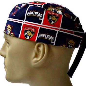 Men's Adjustable Cuffed or Un-Cuffed Surgical Scrub Hat Cap in Florida Panthers