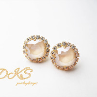 Swarovski Crystal Studs, 12mm Cushion Cut Square, Ivory Cream, Halo Crystal, Gold Setting,Bridal, DKSJewelrydesigns, FREE SHIPPING