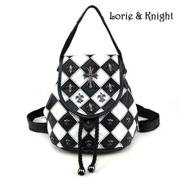 Womens Black and White Diamond Check Cowhide Genuine Leather Gothic Cross Stud Multi-function Backpack
