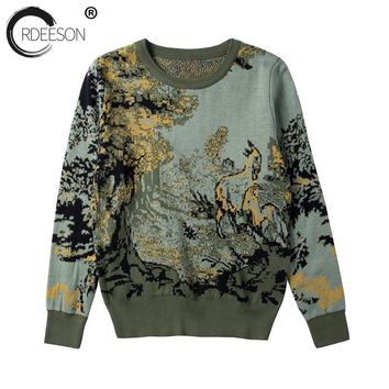 ORDEESON Vintage Green Forest Deer Pattern Fall 2017 Fashion Winter Women Sweaters and Pullovers Jumper Knitted Sweater Brand