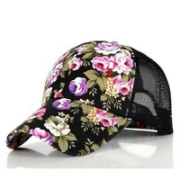 Floral Snapback Baseball Cap Summer Mesh Ball Caps Golf Hats Hat For Girls 5 Colors 10Pcs/lot Free Shipping