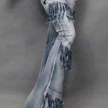Flared Tassel Jeans In The Style of 60's Woodstock