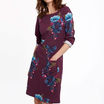 Iliana Plum Winter Camellia Jersey Dress | Joules US