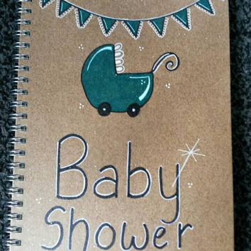 Personalised Baby shower, pram,any name journal note pad, writing pad, Guest book notes, great for any mum to be, handmade glitter finish