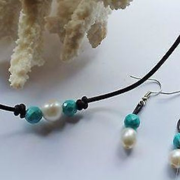 Seasidepearls30A Original: Freshwater Pearl and Genuine Turquoise on AA Leather and Earring gift set!