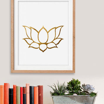 60% OFF SALE Gold Lotus Print, Lotus Art, Gold Lotus Wall Art, Gold Lotus, Gold, Color Lotus, Lotus Prints, Instant Download