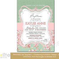 Baptism Invitation - Girl - burlap lace pink green floral - 5x7 vintage style, typography, christening - unique invitation - You Print