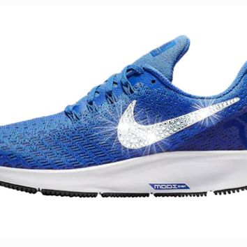 Women's Nike Air Zoom Pegasus 35 + Crystals - Game Royal/White/Deep Royal Blue/Black