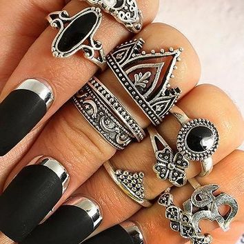 Silver Stone Detail Carve Pattern Ten Pieces Set Rings