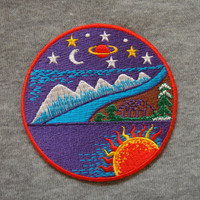 Colourful Purple Star Space Sun Moon Planet Nature World Galaxy Applique Embroidered Iron On Patch